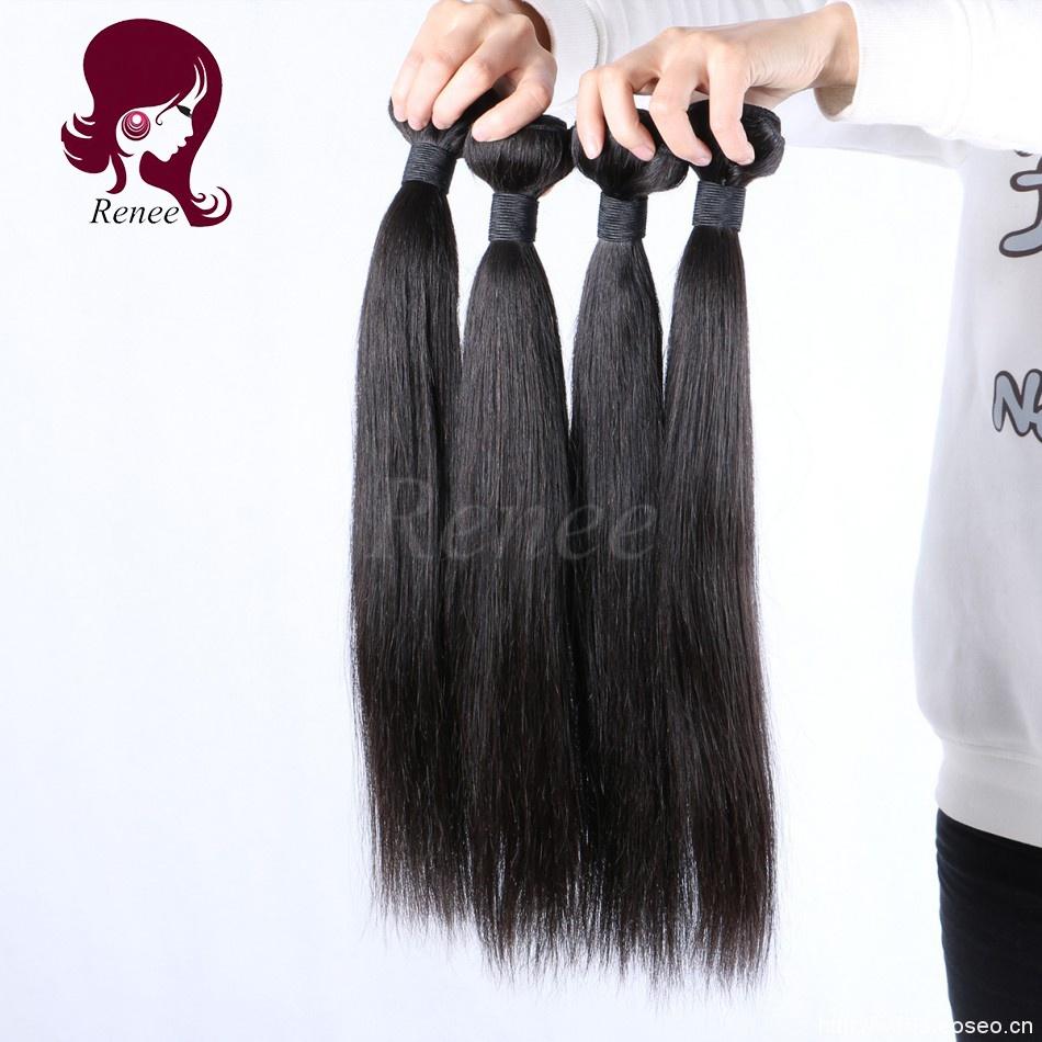Peruvian virgin hair silky straight 4 bundles natural black color free shipping