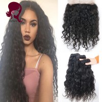 360 lace frontal with 2 bundles natural wave Peruvian virgin hair