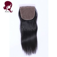 silk base closure silky straight peruvian virgin hair natural black color