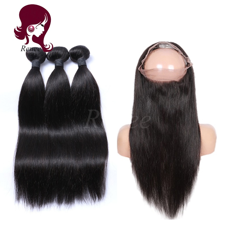 360 lace frontal with 3 bundles silky straight brazilian virgin hair